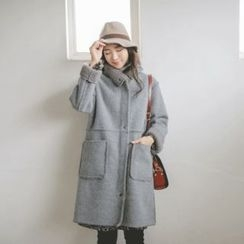 JUSTONE - Stand-Collar Faux-Shearling Coat