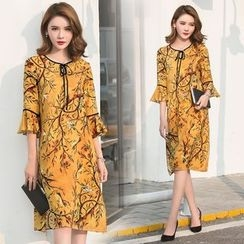 Diosa - Bird Print 3/4 Sleeve Dress