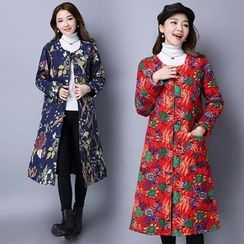 Diosa - Floral Print Long Padded Jacket