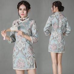 Diosa - Printed 3/4 Sleeve Qipao