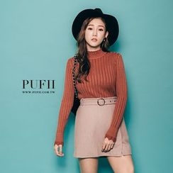 PUFII - Mock-Neck Ribbed Sweater