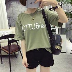 Ukiyo - Lettering Elbow Sleeve T-Shirt
