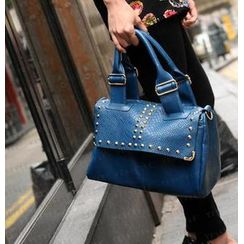 SO Central - Snake Print Studded Boston Bag