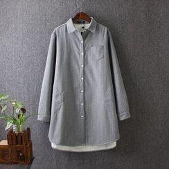 Blue Rose - Fleece Lined Pinstriped Long Shirt