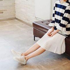 mimi&didi - Mock Two-Piece Color-Block Pleated-Hem Dress