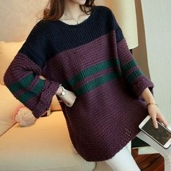 Shomez - Color Block Long Sweater