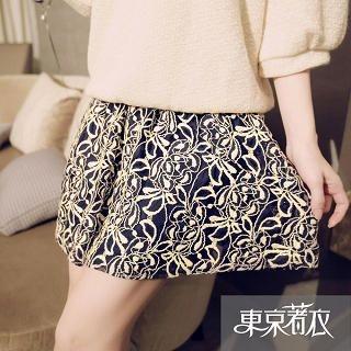 Tokyo Fashion - Band-Waist A-Line Lace Skirt