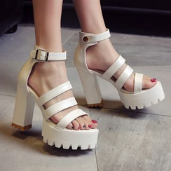 JY Shoes - Ankle Strap Chunky Heel Platform Sandals