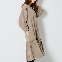 FASHION DIVA - Collarless Ruffle-Hem Midi Shirtdress