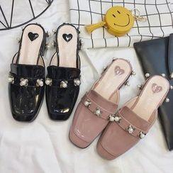 Crystella - Embellished Slide Loafers