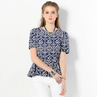 YesStyle Z - Short-Sleeved Chinle Pattern Peplum Top