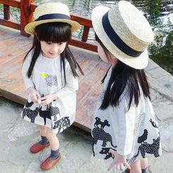 CUBS - Kids Long-Sleeve Printed Pleated Dress