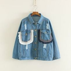 Mushi - Fringed Distressed Denim Jacket