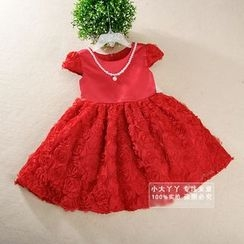 Showtime - Kids Inset Pearl-Necklace Rosette Dress