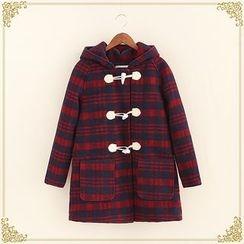 Fairyland - Check Hooded Toggle Coat