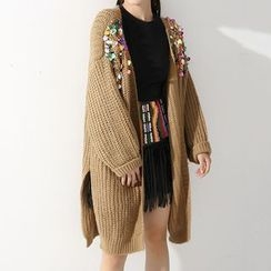 Ultra Modern - Sequined Chunky Long Cardigan