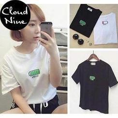 Cloud Nine - Short-Sleeve Battery Print T-Shirt