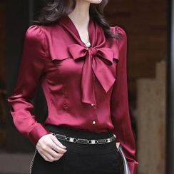 LIVA GIRL - Bow V-Neck Chiffon Shirt