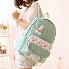 Canvas Love - Dotted Canvas Backpack with Rabbit Brooch