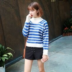 IndiGirl - Mock-Neck Striped Sweater