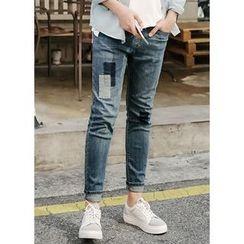 JOGUNSHOP - Drawstring Patch Slim-Fit Jeans