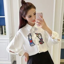 Ashlee - Set: Cartoon Embroidered Shirt + Plain A-Line Mini Skirt