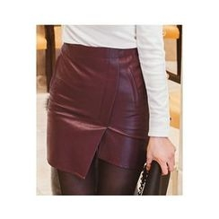 migunstyle - Wrap-Front Faux-Leather Skirt