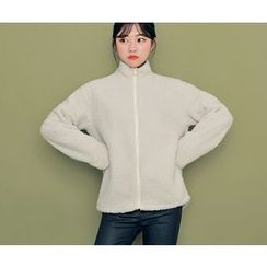 HOTPING - Boucle-Knit Zip-Up Jacket