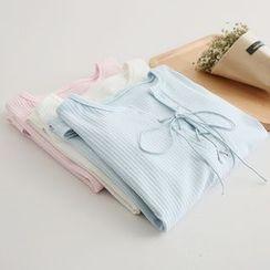 PP家 - 繫帶羅紋七分袖T恤