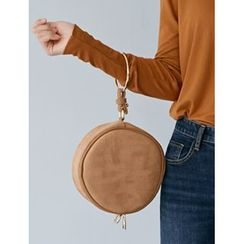 FROMBEGINNING - Faux-Suede Circle Shoulder Bag