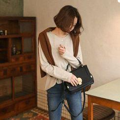 Seoul Fashion - Round-Neck Wool Blend T-Shirt