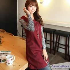 OrangeBear - Contrast-Sleeve Shift Dress
