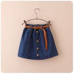 Rakkaus - Buttoned Denim A-Line Skirt