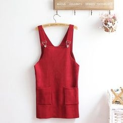 akigogo - Pocketed Plain Pinafore Dress