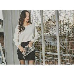 UUZONE - Mock Two-Piece Shirred Mini Dress
