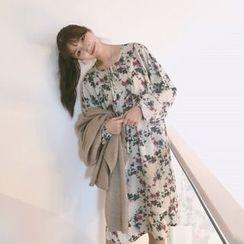 Big Cat - Floral Print Long Sleeve Chiffon Dress