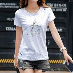 Zyote - Letter Splattered Short-Sleeve T-shirt