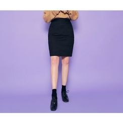 HOTPING - Band-Waist Pencil Skirt