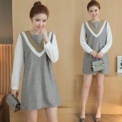 lilygirl - 假两件长袖连衣裙
