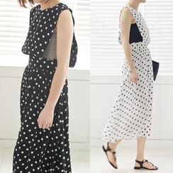 45SEVEN - Sleeveless Polka-Dot Jumper Skirt