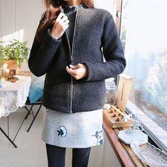 Hello sweety - Round-Neck Zip-Up Fleece Jacket