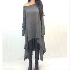 Oaksa - High-Low Long-Sleeve Dress