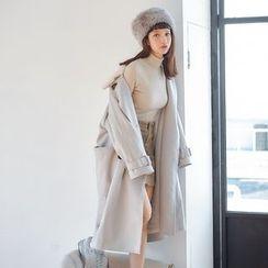 AC - Double-Breasted Fleece-Collar Wool Jacket