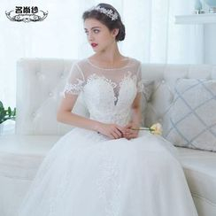 MSSBridal - Short Sleeve A-Line Maternity Wedding Gown