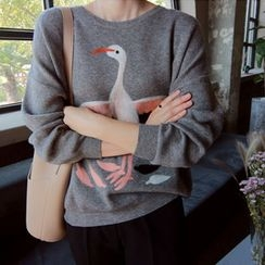 LEELIN - Flamingo Embroidered Pullover