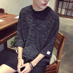 JUN.LEE - Elbow-Sleeve Mélange Crewneck T-Shirt