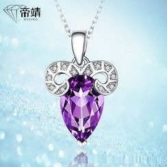 DIJING - Crystal Goat Pendant Sterling Silver Necklace