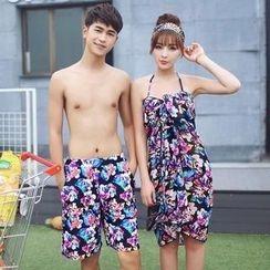 Sweet Splash - 套裝: 情侶碎花比基尼泳裝 + 外罩連衣裙 / 泳褲