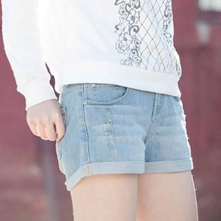 CatWorld - Washed Cuffed Denim Shorts