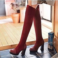 Gizmal Boots - Chunky Heel Over-the-Knee Boots
